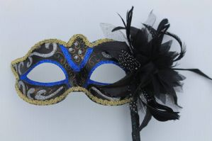 Blue Masquerade Mask - Mask on Stick | Masks and Tiaras